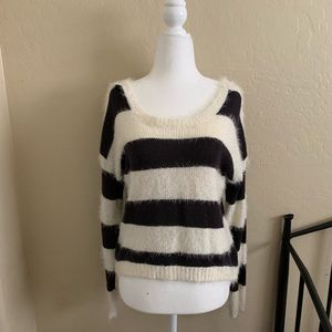 High low black and white stripes fuzzy sweater